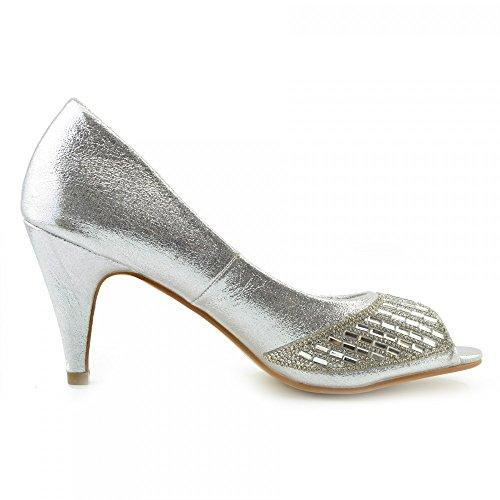 Kick Footwear - Donna Tacchi Classico Partito Sembra Open Toe Scarpe Da Sposa Argento Crack