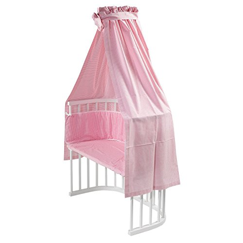 Preisvergleich Produktbild Nestbauglück Bettset für Beistellbett, rosa kariert