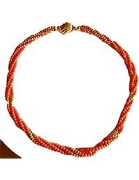 Halskette Koralle Rot Natur mit Einsätzen und Verschluss in Gold 18Kt 750/000New.