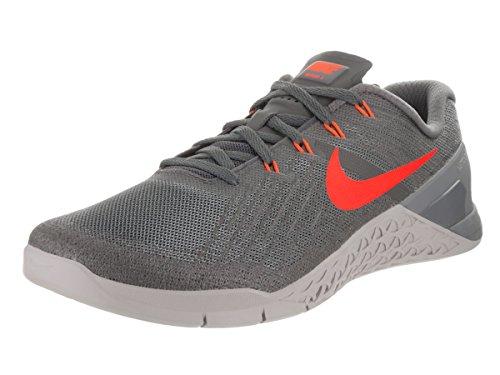 Nike Herren Metcon 3 Gymnastikschuhe, Mehrfarbig (Dark Grey/Hyper Crimson/Wolf Grey), 44.5 EU (Training Mid Cross Schuh)