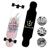 DUBAOBAO Skateboard da 40 Pollici con tavola Dritta per Cruiser, Skateboard Completo per Principianti, Skateboard letterario su Acero,4