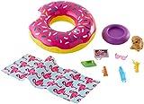 Barbie FXG38 - Möbel Flamingo Spielset Outdoor mit Donut Schwimmring und Hündchen, Puppen und...