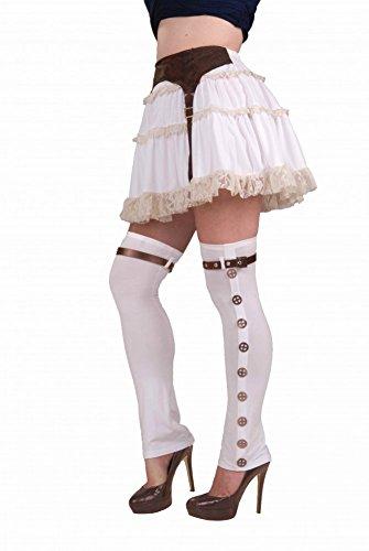 Ausgefallene halterlose Strümpfe weiß mit Zahnrädern für Damen Steampunk-Kostüm Stiefelstulpen Gamaschen Stulpen