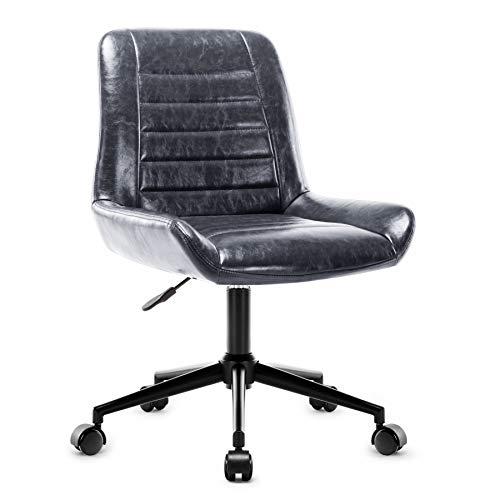 Amoiu Lounge Stuhl, HöhenverstellbarClubsessel, Design Drehsessel mit Laufrollen, Wartezimmerstuhl, Geeignet für Arbeitszimmer, Schlafzimmer, Wohnzimmer, Esszimmer, Grau