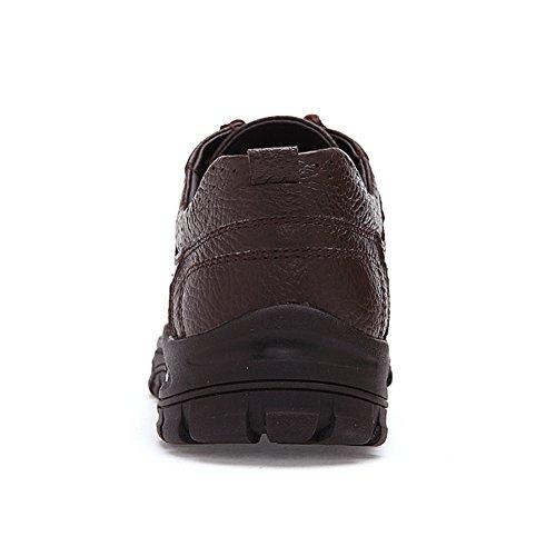 URBANFIND Herren Shoes Leder Outdoor Athletische Trekking Wanderschuhe Braun Schnüren