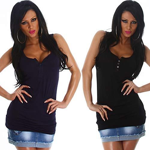 Voyelles Damen Sexy Basic Long-Top Knopfleiste Träger Stretch Tanktop tiefer Ausschnitt einfarbig Stretch, 2er Set Schwarz + Blau 36 38 40