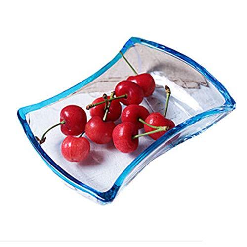 ZHANGAIZHEN-guopan Obstteller Obstkörbe Fruchtkorb Trockenobstplatte Snack-Tablett Gehärtetes Glas Europäischen Stil Einfache Kreative Candy Dish (Farbe : Steady Blue) Blue Glass Candy Dish