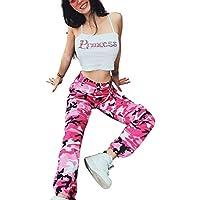 Pantalon Cargo Femme Militaire Taille Haute avec Poche sur Le Côté Mode Hip  Hop Baggy Sweatpants a70c6f02155b