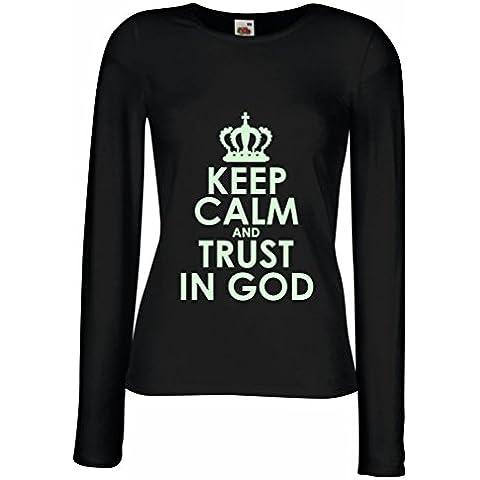 N4547M Mangas largas Camiseta de la hembra Trust in God!