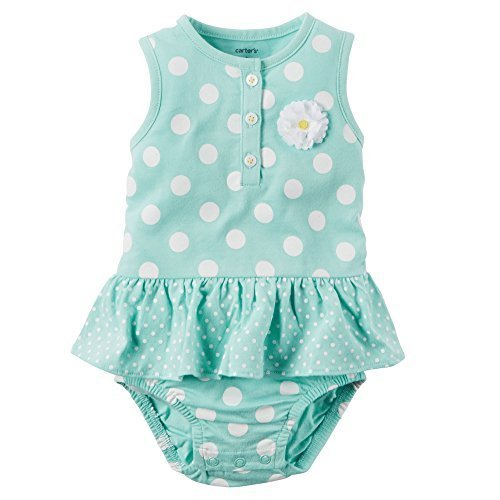 Carter's Bodykleid Spieler Einteiler Sommer Outfit Baby Body Mädchen Girl Dress Onesie Kleid (3 Monate, Türkis) (Carters Body Onesies)