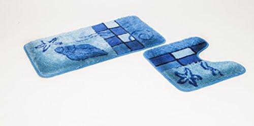 2- teiliges Badematten Set Hamburg blau mit Ausschnit