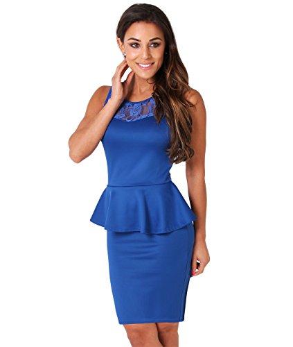 KRISP® Femme Robe Peplum Moulante Soirée Bleu roi