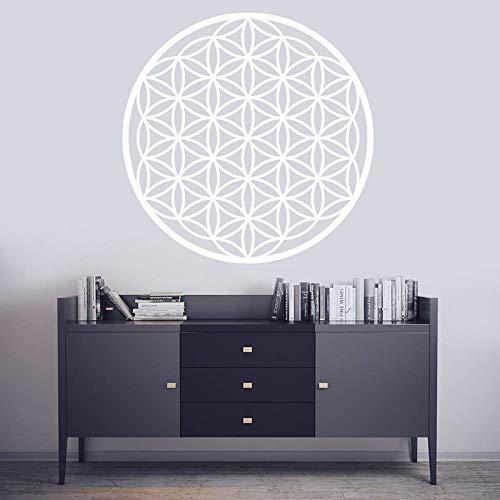 Blume des Lebens böhmische Applikation, Vinyl Mandala Sticker Samen lebendige Wanddekoration weiß L 57x57cm -