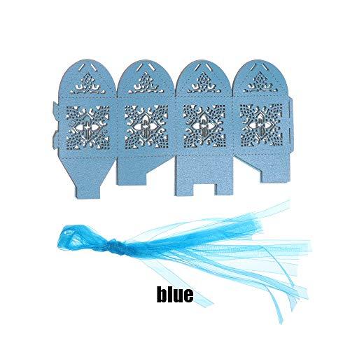 lakamier 10pcs DIY Paper Wedding Favors Laser Cut Candy Box Gift Boxes Crossing Cookie(+Blue) (Blue Wedding Favor Boxes)