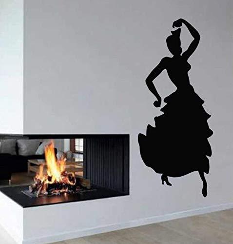 Pbldb Wandtattoos Vinyl Aufkleber Aufkleber Kunst Wandbild Dekor Flamenco Tanz Mädchen Tänzerin 36X86Cm