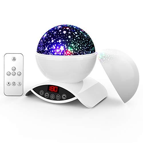 Amouhom Sternenhimmel Projektor Lampe mit Fernbedienung, LED Nachtlicht mit Wiederaufladbare Batterie 360 Drehen und Timing Schlaflicht für Kinders Schlafzimmer Romantische Geschenke für Frauen (Weiß)