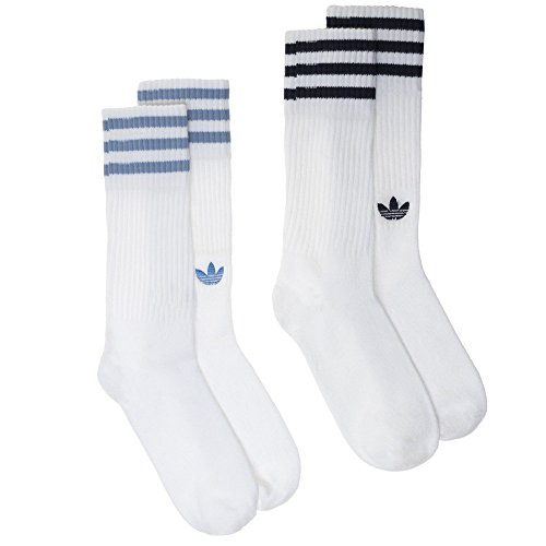 adidas Men's Solid Crew Socks (2 Pair) WhiteCollegiate NavyAsh Blue, Size 8.5 10