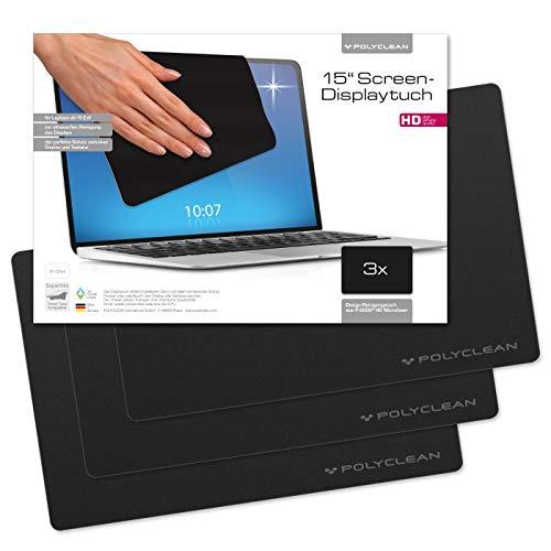 POLYCLEAN 3x Displaytuch - Reinigungstuch für Tablet, Notebooks & Laptops - Schutztuch für Bildschirm, Tastatur & Monitor (15 Zoll, Schwarz, 3 Stück)