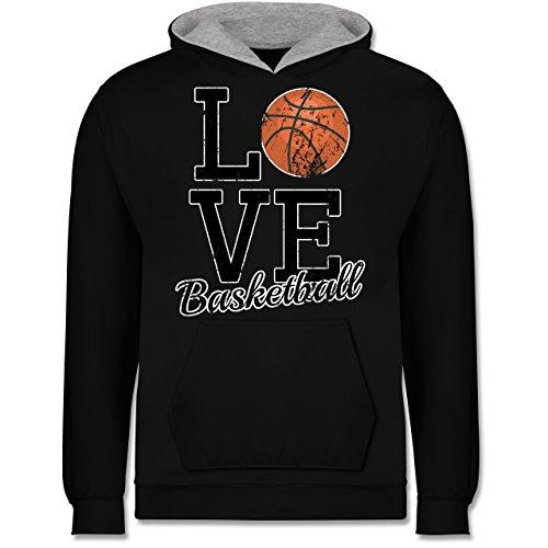 Sport Kind - Love Basketball - 12-13 Jahre (152) - Schwarz/Grau meliert - JH003K - Kinder Kontrast Hoodie