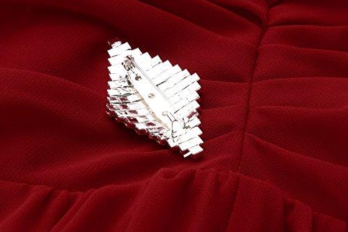 cooshional Damen Maxi Kleid V-Neck Ärmellos Abendkleid Chiffon lang Brautjungfernkleid Rot