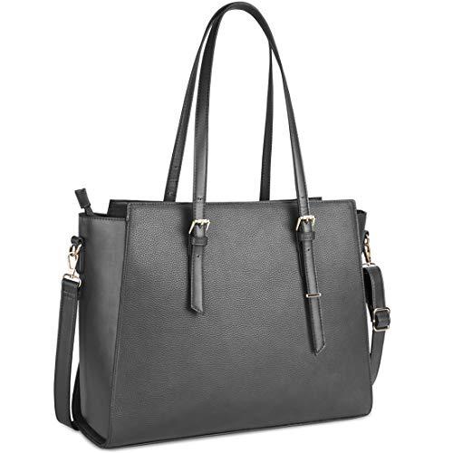 NEWHEY Handtasche Damen Shopper Damen Große Grau Gross Laptop Tasche 15.6 Zoll Elegant Leder Umhängetasche für Büro Arbeit Business Schule - Handtasche grau