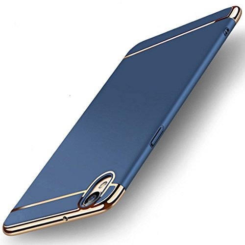 Mobiclonics® 3in1 Hybrid Hard Back Cover Electroplating Case for Oppo A37-Blue