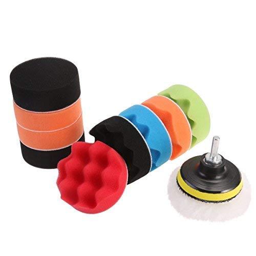 Tamponi per trapano, per levigatura e lucidatura dell'auto, in schiuma e lana, con adattatore per trapano m10, da 7,6 cm, 12 tamponi
