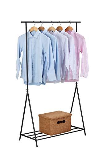 NEUN WELTEN Kleiderbügel Caecias mit einem industriellen und einfachen Ausdruck, Einzelstange, hoch (dunkel)