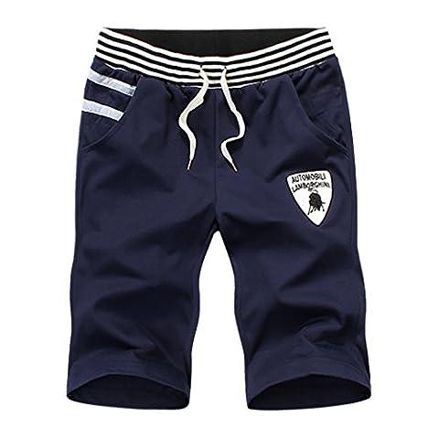 WALK-LEADER Mens Summer Soft Casual Graphic Breathable Jogging Pants Active Shorts 003/Darkblue UK XL