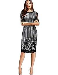 f8ed14766c0ddd Creator2018 Damen Spitze Patchwork Elegante Gürtel Bleistiftkleid 1 2 Ärmel  schlanke Arbeit Business Kleid