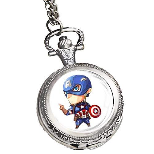 Baoleiju Halskette Medaillon Anhänger Captain America mit Schmuckkästchen Capitan Amerika für Mädchen, Mädchen Style B (Captain America Medaillon Halskette)