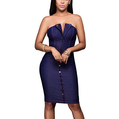 Off Shoulder Kleid,V-neck Kleid,Sexy Elegant Cocktailkleid Dunkelblau Schulterfrei Bodycon Midi Denim Kleider Partykleid für Frauen Blau