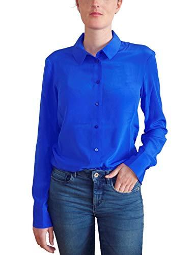 Posh Gear Damen Seidenbluse Collettoseta Bluse aus 100% Seide, dunkel blau, Größe S - Damen 100% Seide Bluse