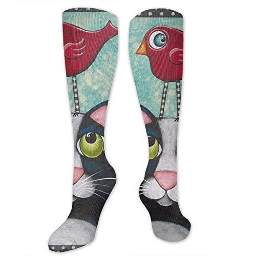Needyo Strümpfe Kompression,Laufsocken,Folk Art Cat Bird Graduated Compression Socks Stockings für Sport,Medi,Flug, Reisen,Schwangerschaft & Medizinische -