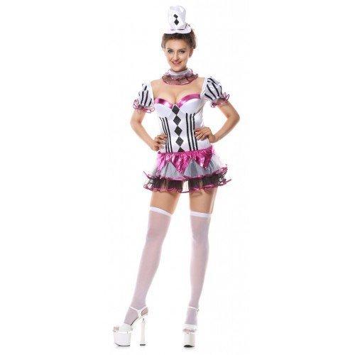 by Ladies Cirque De Sexy Clown Circus Carnival + Hat Hen Do Halloween Fancy Dress Costume (UK 12-14)