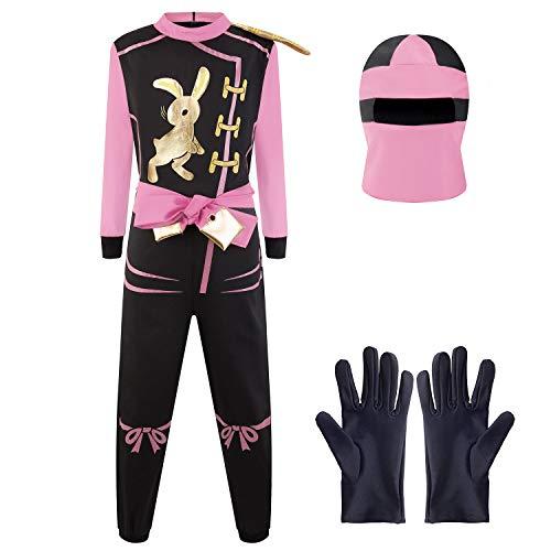 Katara 1771 Ninja Kostüm Anzug, Mädchen, Pink, S (104/110/116) (Ganzkörper Häschen Anzug)