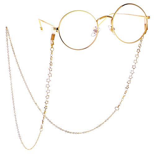 LJPzhpGC Brillenketten für Lesebrillen Perlen rutschfeste Metall Sterne Brille Hängen Kette Halskette Brillen Brille Kette Sonnenbrille Umhängeband Eyewear Retainer Seil Halter Für Frauen (Gold)