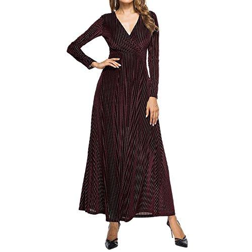 semen Damen Lange Langarm Abendkleid Maxi V-Ausschnitt Samt Party Kleid Winter Knöchel Maxi Tuniken lässig Roben Fashion (Länge Knöchel Roben)