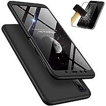 Samsung Galaxy A7 2018 Handyhülle, LaiXin Samsung Galaxy A7 2018 Hülle mit Tempered Glas Schutzglas 360 Grad Case Schutzhülle PC Plastik Cover Kratzfeste Stoßdämpfende Bumper - Schwarz