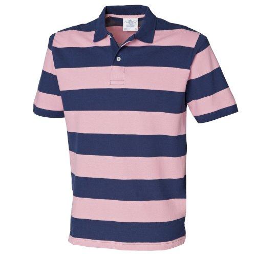 Streifen Button-front Shirt (Front Row Herren Polo-Shirt gestreift, Kurzarm (M) (Dunkelblau/Pink))