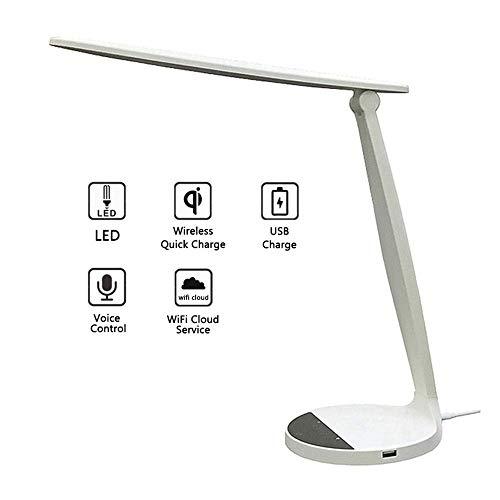 NMBE Klapp-LED-Taschenlampe, USB-Ladung Smart Desk-Lampe, 3 Farbtemperatur, 5 Helligkeit, Sprachsteuerung Stimme Nachttischlampe mit Touch-Steuerung, für Studium, Lesen, Büro und Schlafzimmer