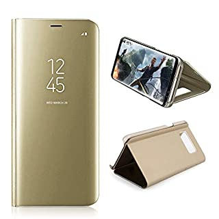 AURSEN Galaxy S8 Plus Mirror Clear View Standing Schutzhülle Flip Handy Case Cover Tasche für Samsung Galaxy S8 Plus Gold