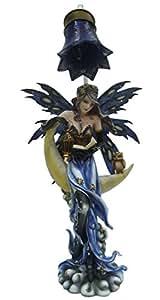 Statue ou Statuette Fée Lampe sur lune - Hauteur : env. 50 cm - Livraison Gratuite