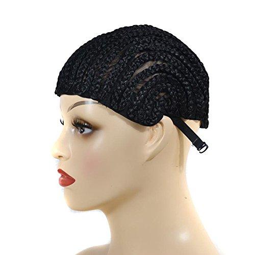 (TWISFER Schwarz Schwarze Kappenperücke zur Herstellung von geflochtenen Haarperücken Geflochtene Perücke mit synthetischen Clips und starkem Gummiband)