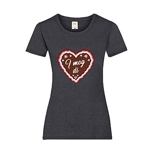 Oktoberfest T-Shirt Damen mit Motiv Lebkuchen - I mog di - Tracht Frauen Dunkelgrau - Damen Lebkuchen Mann Kostüm