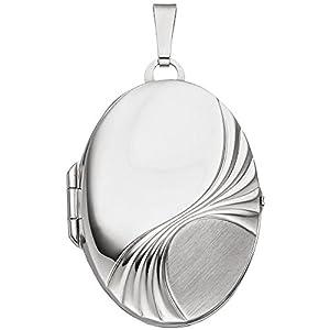 Medaillon Anhänger aus 925 Silber rhodiniert ovalförmig zum Öffnen