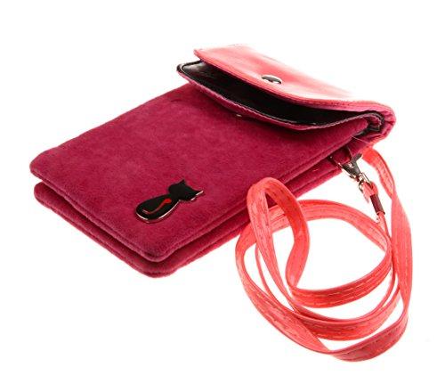 Bronze Times Universale Handytasche Geldbeutel Sportstasche mit Katze Fußabdruck und Handschlaufe Hellpink (Open Toe Leder Mules)