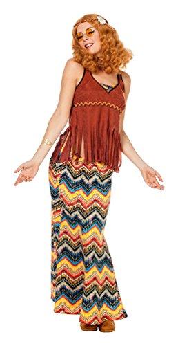 (Karneval-Klamotten Hippie Kostüm-e Damen Rock Lang Hippie Rock Hippie Oberteil mit Fransen 60er Jahre Damen-Kostüm Größe 44)