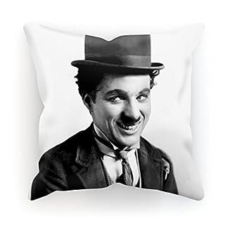ArteCita Kissen Bedruckt aus Baumwolle mit Füllung–30x 30cm oder 45x 45cm–Charlie Chaplin, Baumwolle, weiß, 30x30cm