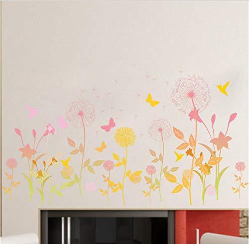 Garten Blume Schmetterling Löwenzahn Wandaufkleber Landschaft Wand Wohnzimmer Wandkunst Wohnkultur Poster Wandbild 90 * 30 cm -